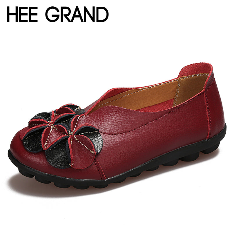 HEE GRAND Split Leather Loafers 2018 Solid Ballet Flats Flower Shoes Woman Slip On Comfortable Casual Women Shoes XWD6453