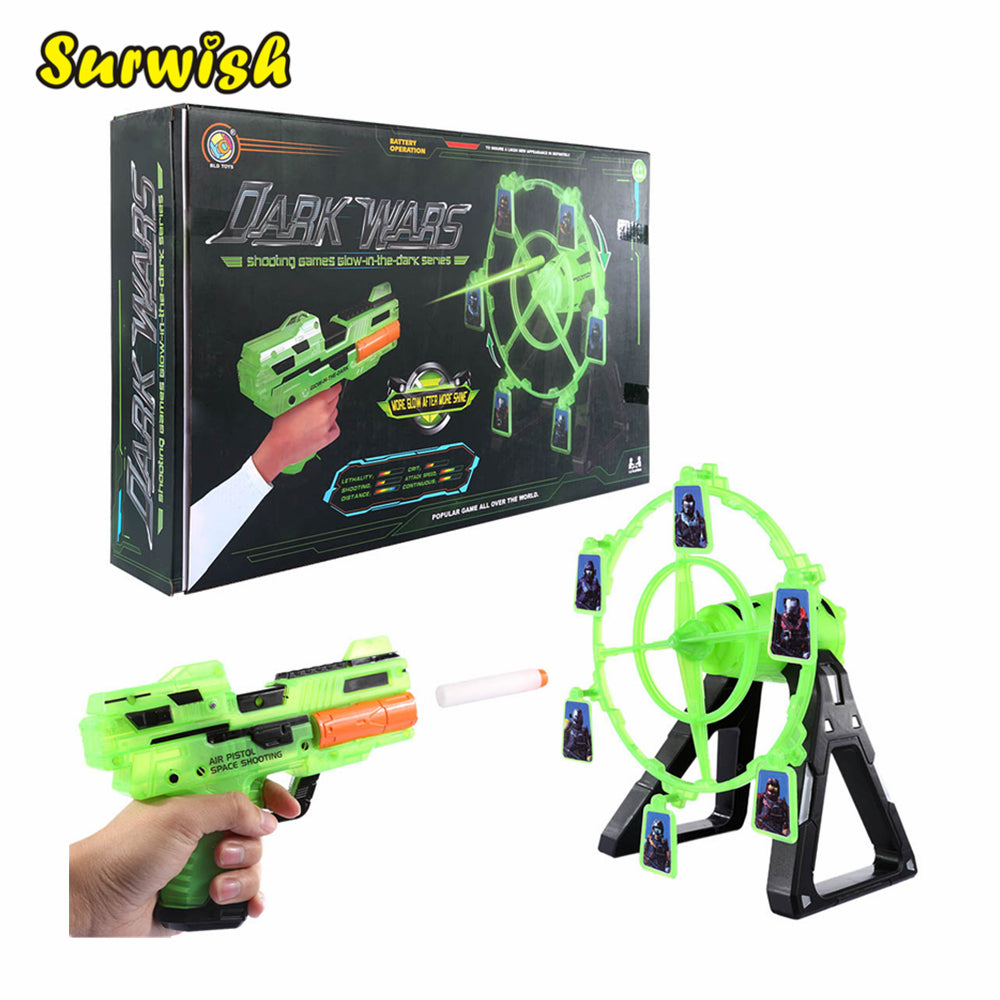 Shooting Toy Series Electric Rotary Windmill Dart Target Soft Bullet Shooting Practice Set with Music Effect (Luminous Version)
