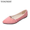 Tangnest Cow Suede Women Loafers Soft Ballet Flats Candy Color Simple Women Flats Slip On Pionted Toe Women Boat Shoes XWD6491