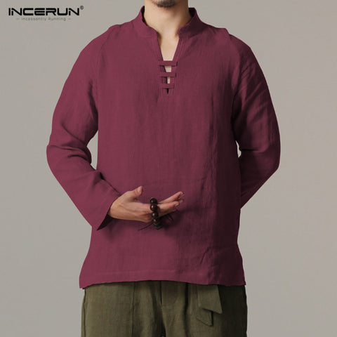 INCERUN 2018 Chinese Style Mens Pullover Shirt Breathable Linen Summer Long Sleeve Slim Thin Shirts Collarless Shirt Men S-3XL