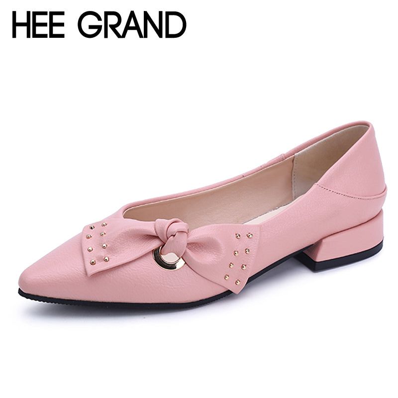 HEE GRAND Sweet Patent Leather Women Oxfords Shoes For Spring Pointed Toe Platform Low Heels Pumps Brogue Shoes Woman XWD6447