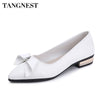 Tangnest Low Square Heel Women Pumps Elegant Butterfly-knot PU Leather Pointed Toe Concise Women Formal Shoes Spring XWD6488