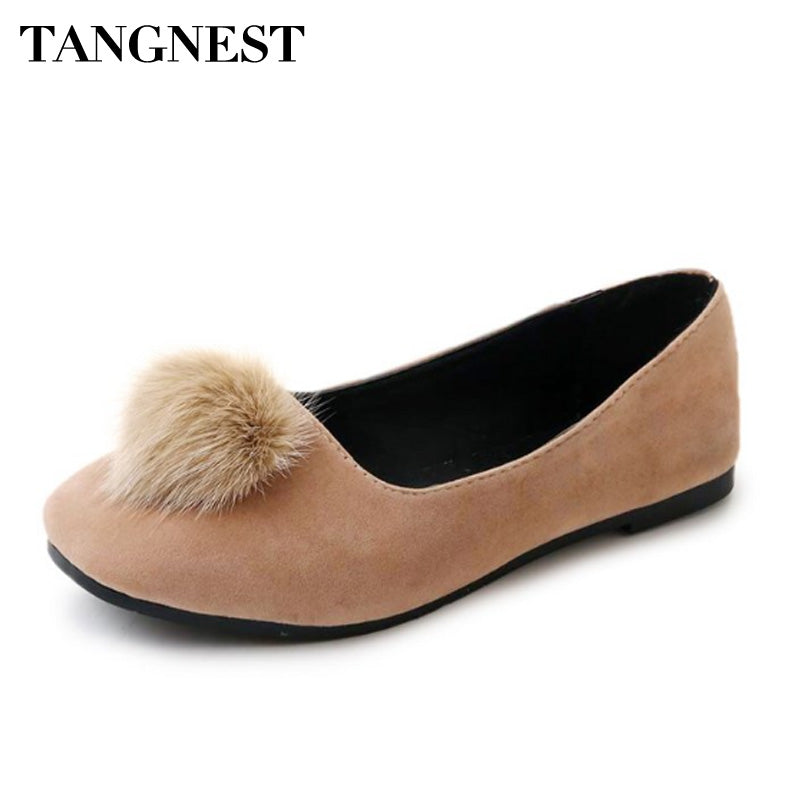 Tangnest Leisure Faux Fur Women Loafers Casual Women Ballet Flats Slip On Round Toe Soft Women Flats Spring Autumn XWD6485