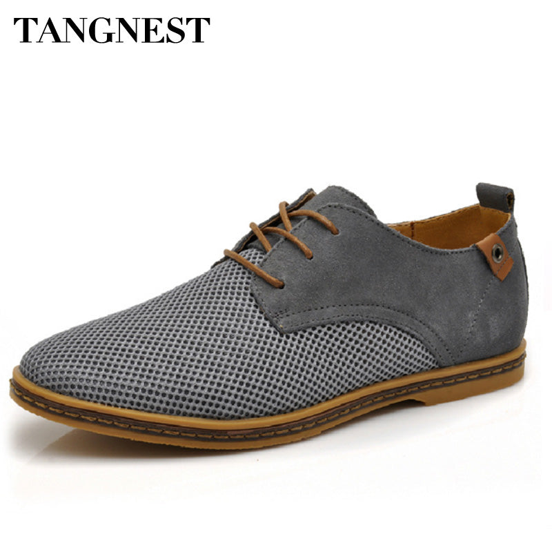 Tangnest Suede Leather Men Shoes 2018 New Breathable Lace Up Flats Solid Plain Oxfords Man Mesh Casual Shoes Big Size 47 XMR2113