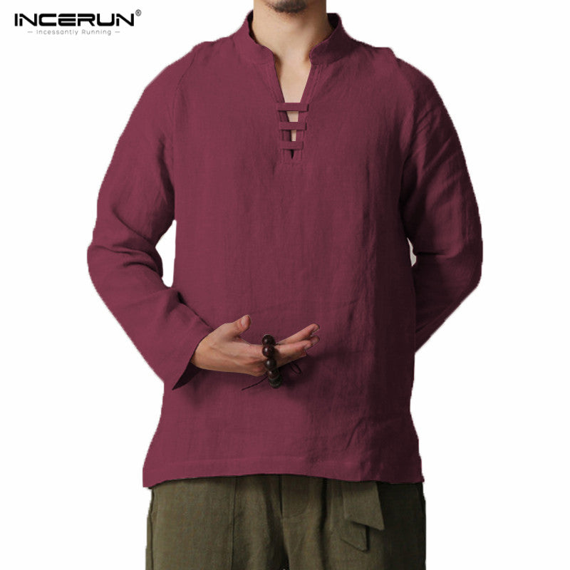 INCERUN Men's Chinese style Shirt Long Sleeve Cotton Linen Shirts Men Collar Traditional Kung Fu Shirts Men camisa masculina