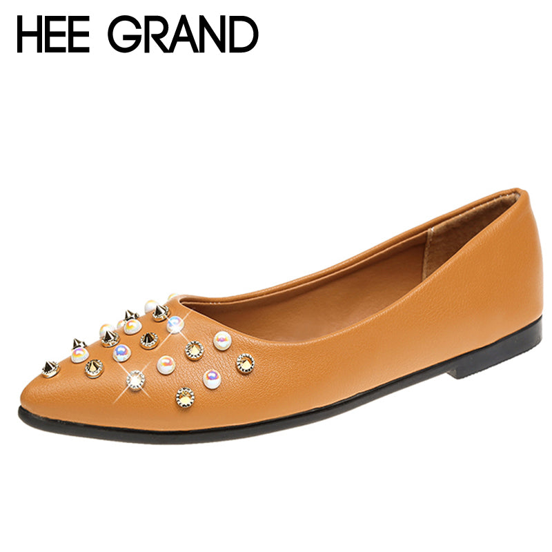 HEE GRAND Rivet Creepers Pearl Glitter Flats Shoes Woman Comfort Slip On Casual Women Shoes 3 Colors Size 35-40 XWD6448