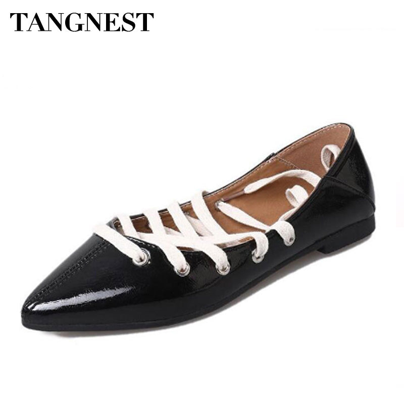 Tangnest NEW Woman Pointed Toe Ballet Flats  Patent Leather Chic Lace Up Flats Casual Cross-tied Lady Flat Shoes Black