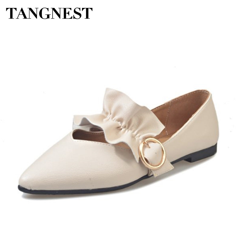 Tangnest Pointed Toe Women Loafers Fashion Riband Slip On Women Moccasins Soft Casual Shoes For Spring Women Flats XWD6500