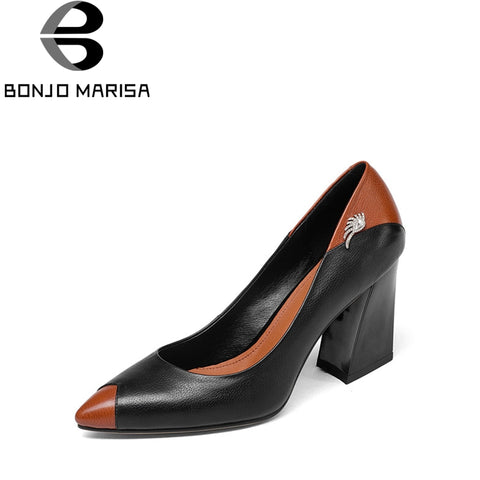 BONJOMARISA 2018 Spring Autumn New genuine leather Pumps Elegant Concise Decoration Shoes Woman Shallow Slip-on Shoes