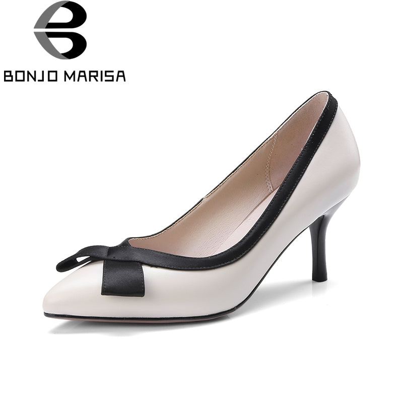 BONJOMARISA 2018 Genuine Leather Women's Slip On Thin High Heels Pointed Toe Office Party Wedding Pump Shoes Woman Size 33-40