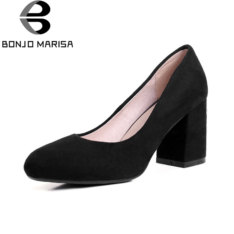BONJOMARISA Women's Vintage Square High Heel Official Shoes Woman Suede Upper Slip On Black Beige Pumps Size  34-39