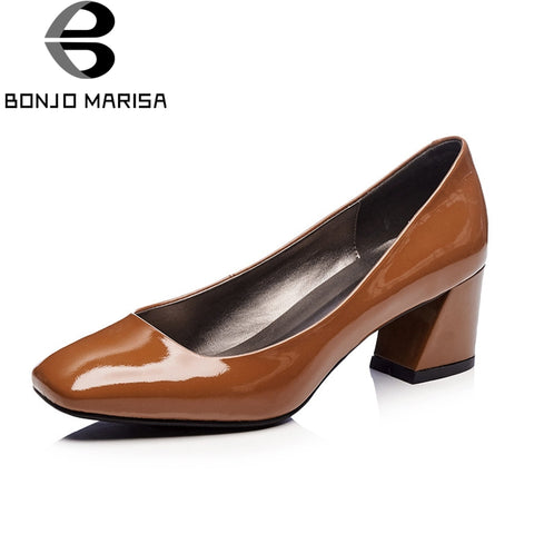 BONJOMARISA New women's Genuine Leather Square Med Heel slip-on Solid Shoes Woman Casual Office Pumps Size 34-39