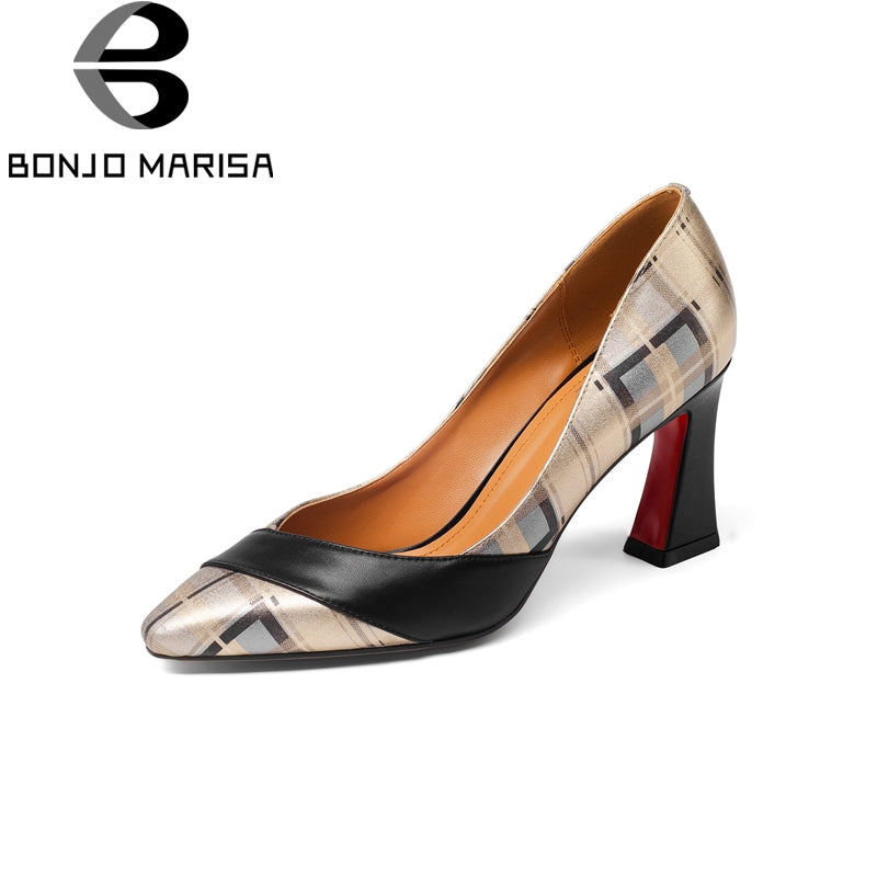 BONJOMARISA Genuine Leather Large Size 33-43 Square High Heels Shoes Woman Black Slip On Party Wedding Shoes Woman 2018