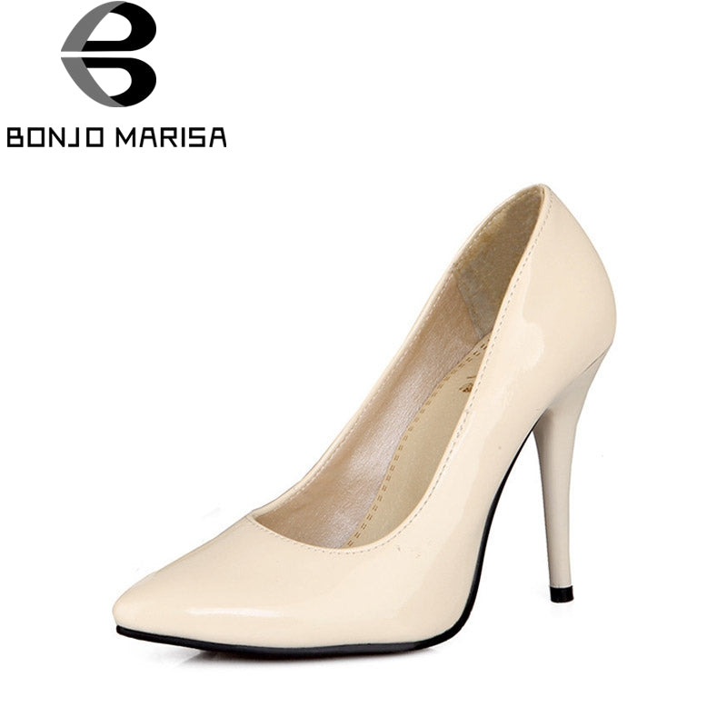 BONJOMARISA 2018 Spring Autumn Seven Colors Sexy Pointed Pumps Plus Size 30-48 High Heels Shallow Shoes Woman For Wedding Party