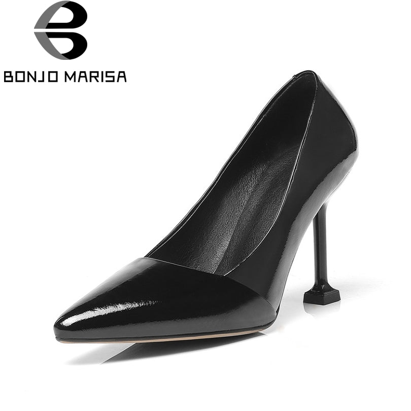 BONJOMARISA Women's Patent Leather Pumps Sexy Strange Thin High Heels Pointed Toe Slip On Office Pumps Big Size 32-48