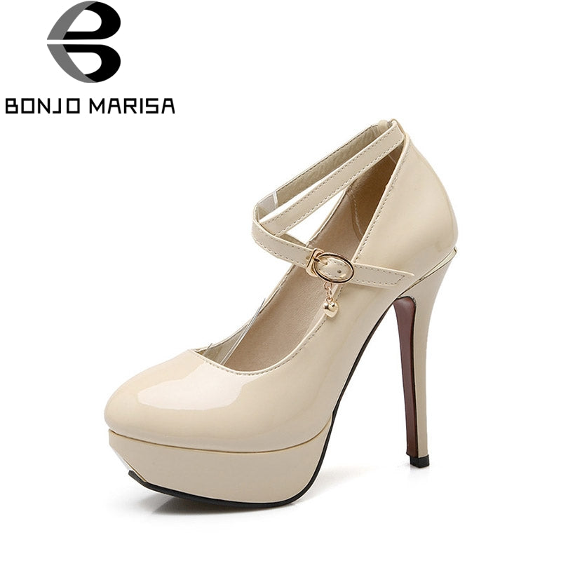 BONJOMARISA 2018 Spring Autumn Elegant Beigh Ankle Strap Pumps Shoes Woman Platform High Heels Big Size 32-43 Wedding Women Shoe