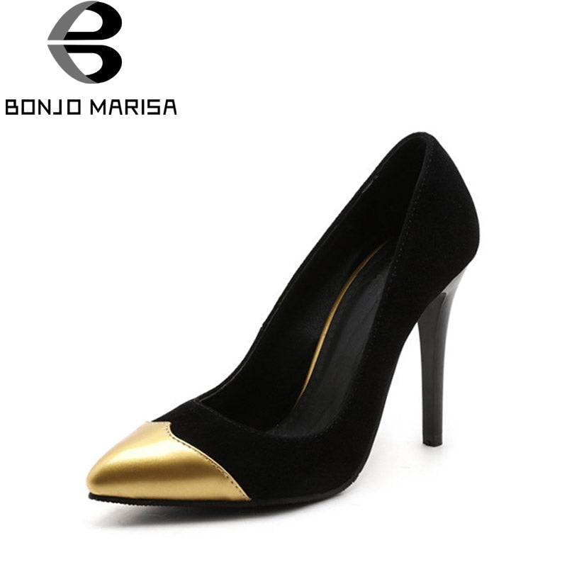 BONJOMARISA 2018 Spring Autumn Sexy Date Party Pumps Super High Thin Heels Shallow Shoes Woman Plus Size 31-47 Pointed Toe Shoe