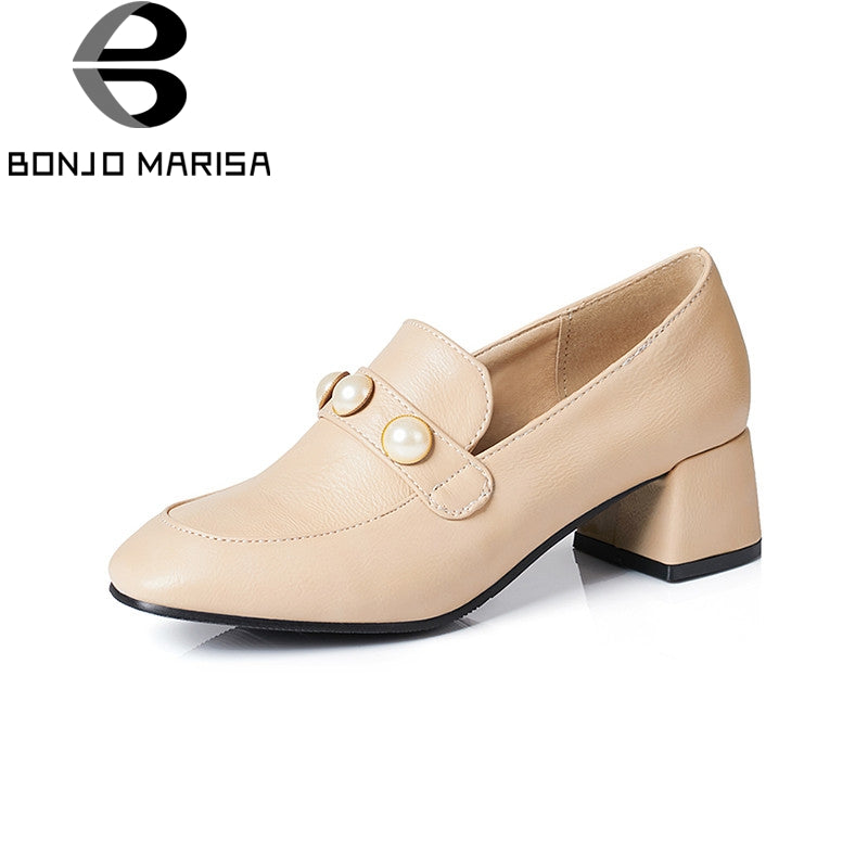 BONJOMARISA 2018 Spring Autumn New Brand Beading Pumps slip-on Med Heels Shoes Woman Big Size 30-43 Women Lady Date Shoe
