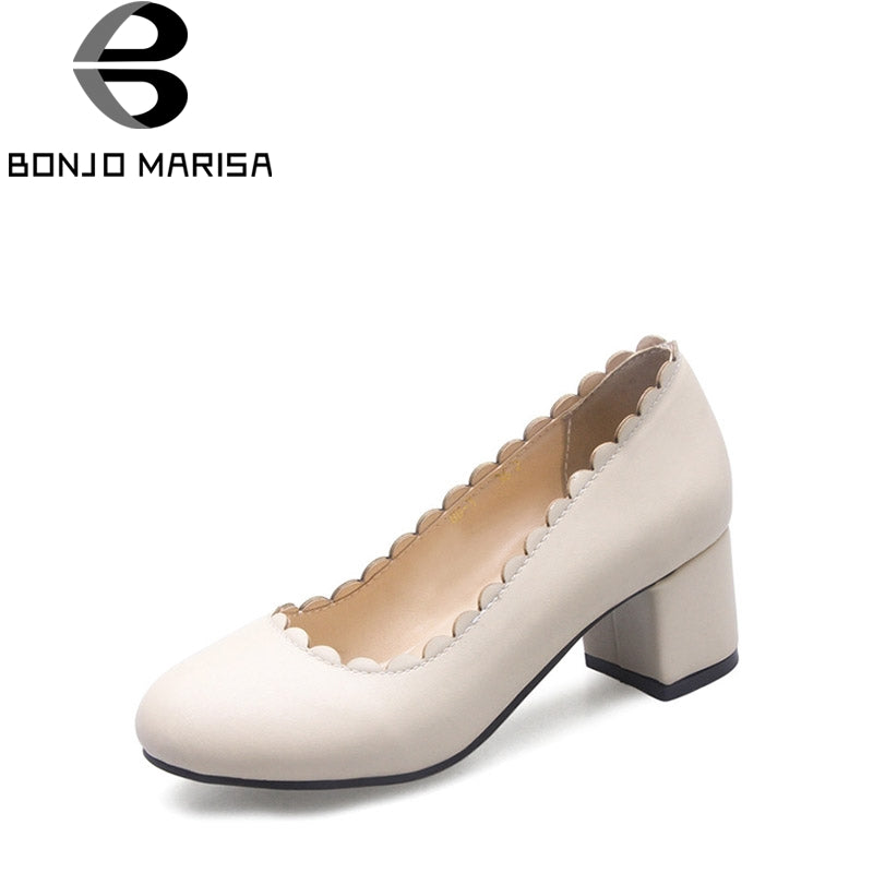 BONJOMARISA 2018 Spring Autumn New Elegant Lace Beige Pumps Plus Size 32-46 Shallow Shoes Woman Med Chunky Heels Women Shoe