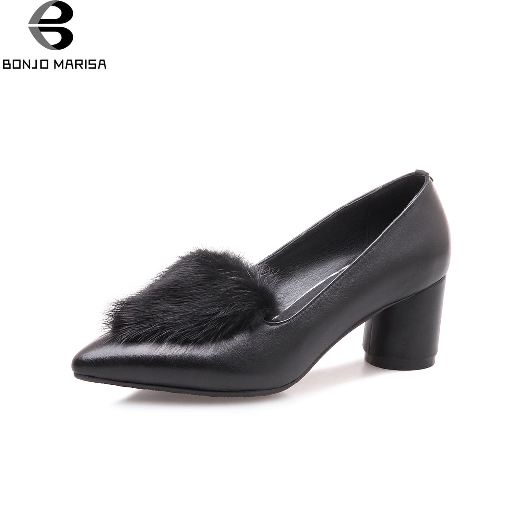 BONJOMARSIA large size 34-43 high-heeled spring shoes pumps sexy fur genuine leather slip on women shoes woman