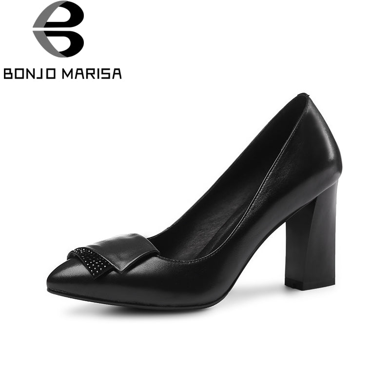 BONJOMARISA 2018 Spring Autumn Fashion Brand Crystal Women Pumps Genuine Leather Shallow Ol High Heels Shoes Woman