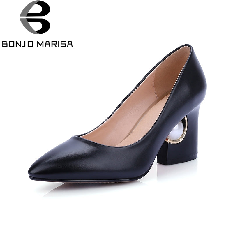 BONJOMARISA 2018 Plus Size 33-44 Strange Style Women Shoes Slip On Mid Heels Shoes Women Party Wedding Pumps Red Black Colors