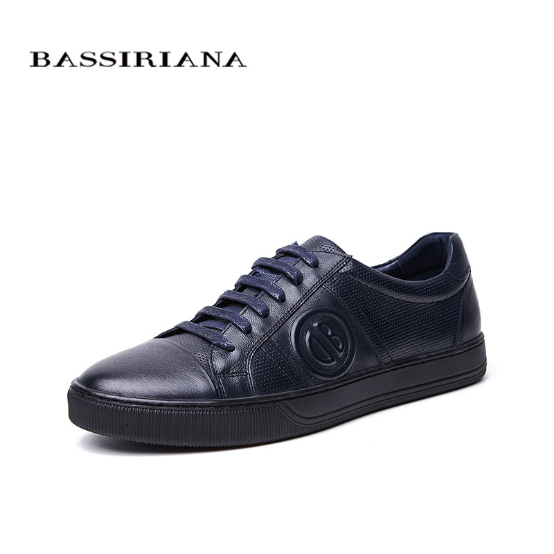BASSIRIANA New 2018 Genuine cow Leather men casual shoes lace up comfortable round toe blue spring autumn 39-45 size handmade