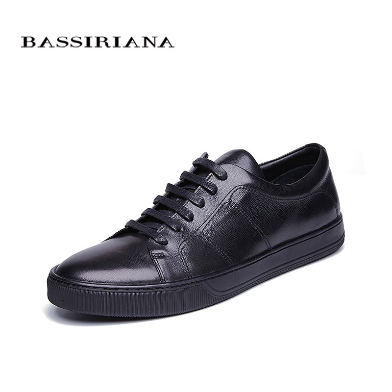 BASSIRIANA New 2018 Genuine cow Leather men casual shoes lace up round toe black spring autumn 39-45 size handmade