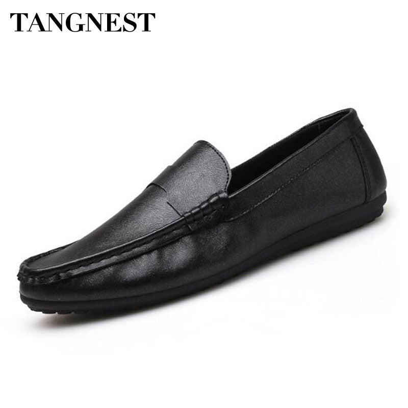 Tangnest 2018 NEW Arrivals Men Loafers Solid Pu Leather Driving Shoes For Male Casual Shallow Slip-on Flat Shoes Black Gold