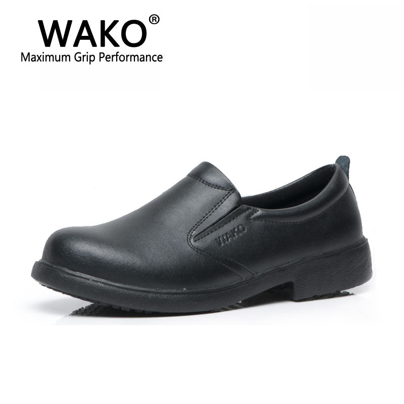 WAKO 9802 Men Chef Shoes Waterproof Anti Oil Kitchen Work Shoes Wear Resistance Male Split Leather Shoes Non-skid Slip on 38-44
