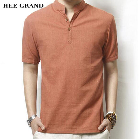 HEE GRAND Men Linen Short-Sleeve Shirt Hot Summer New Arrival Solid Color Casual Mandarin Collar Slim Camisa Masculina MCS414
