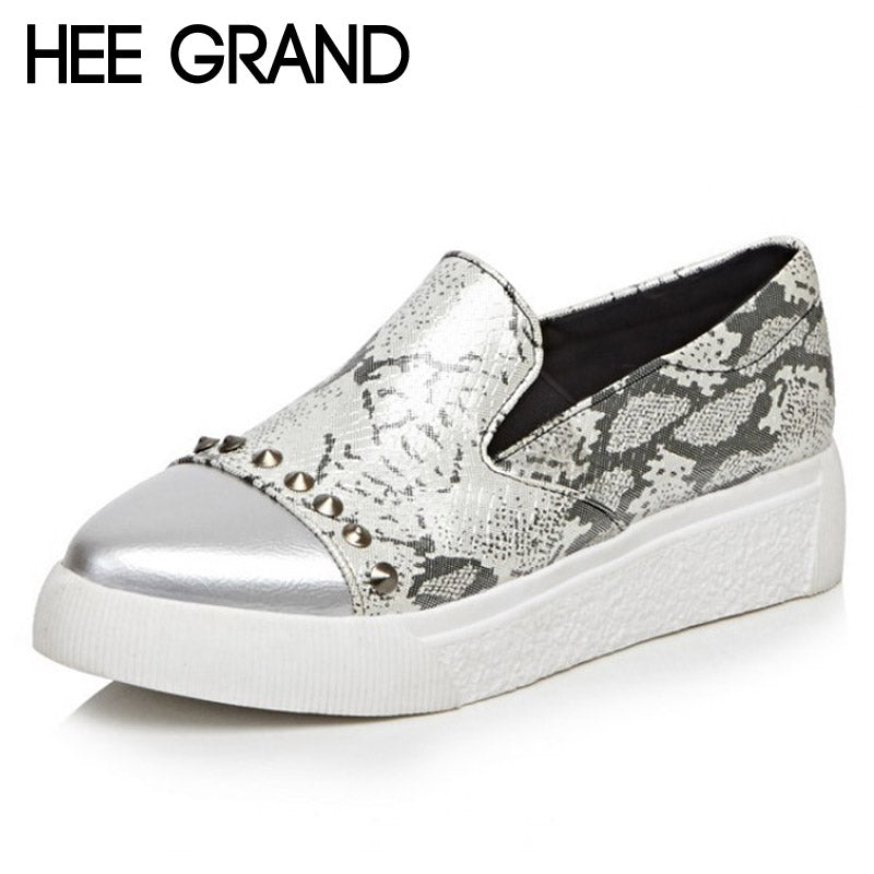 HEE GRAND Serpentine Rivet Loafers Creepers Sexy Platform Shoes Woman Slip On Flats Casual Women Shoes Plus Size 35-43 XWD3577