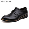 Tangnest Men Oxfords Shoes Fashion Pointed Toe Men Dress Shoes Lace-up Male's Leather Flats Man Wedding Shoes Size 37~44 XMP538