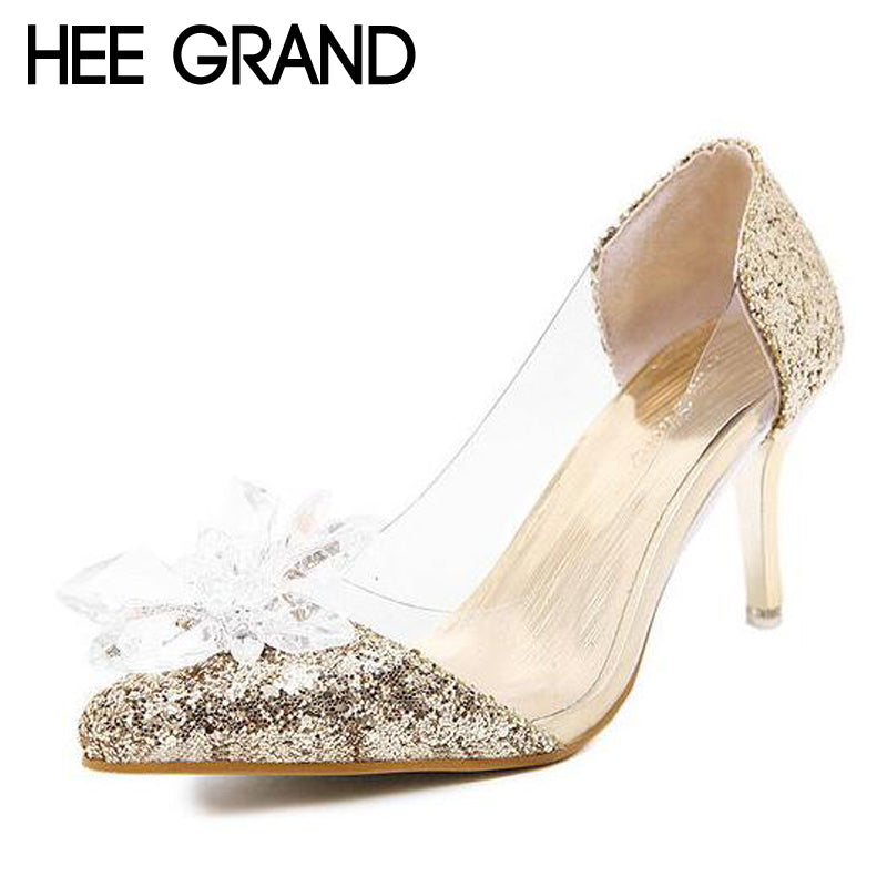 HEE GRAND Gold Silver High Heels Crystal Wedding Shoes Woman Bling Glitter Sandals Elegant Platform Pumps Women Shoes XWD3204