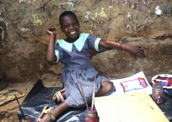 """Healing strokes"": Malawian children brush away pain with paint"