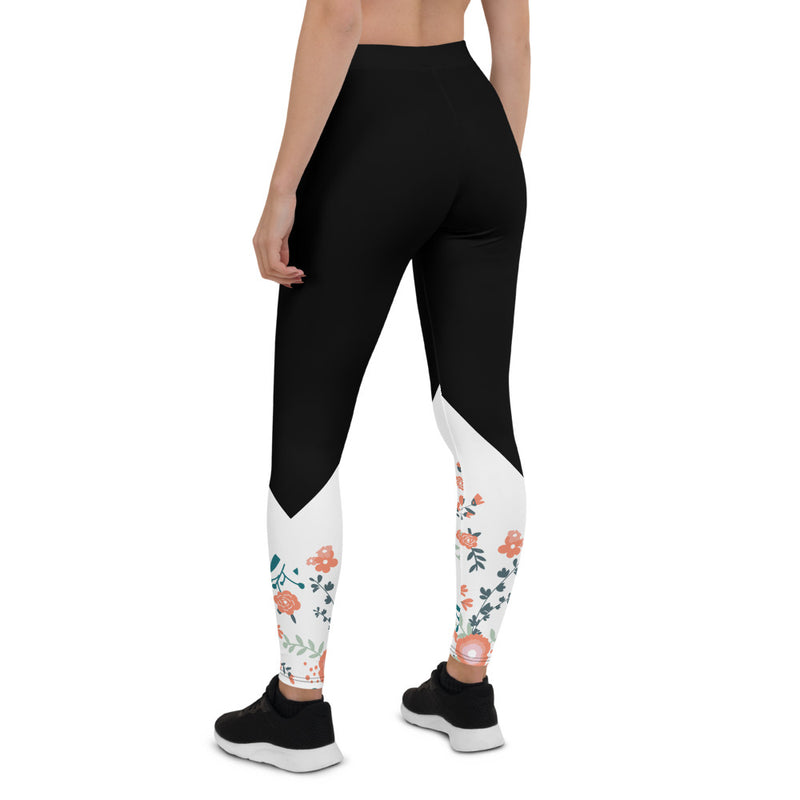 Floral Vines- Aestheletic Black Workout leggings