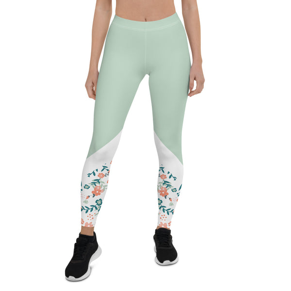 Floral Vines- Aestheletic Mint Green Workout leggings