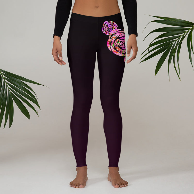 Maroon Rose Leggings