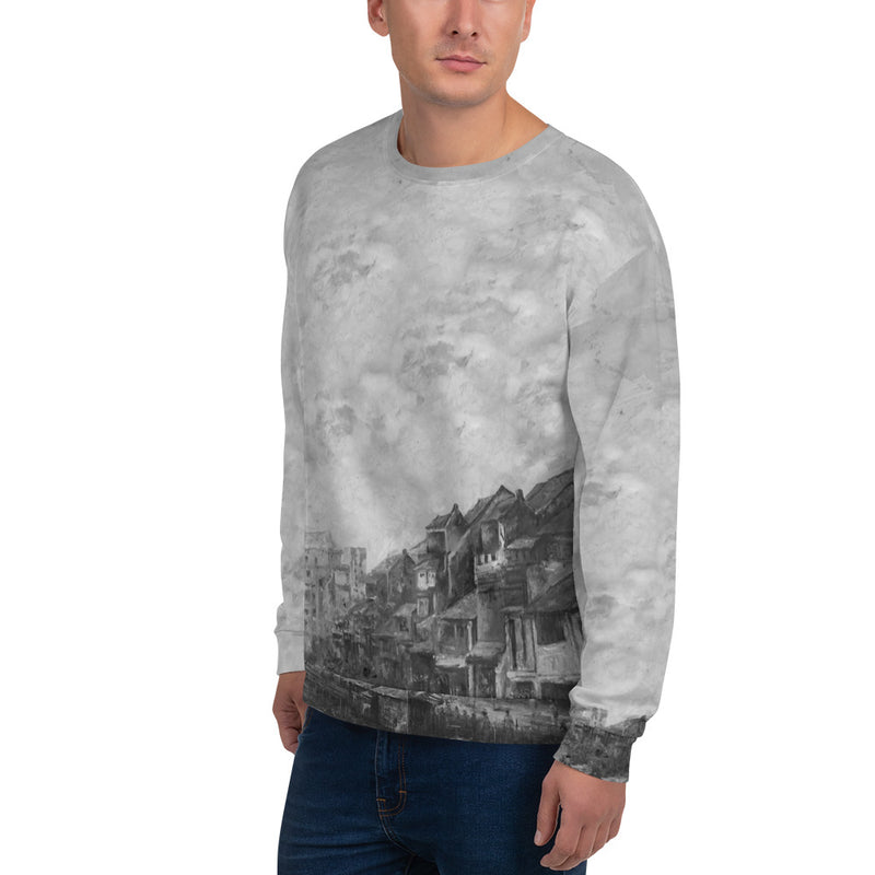 Riverside, B&W All-over Print Unisex Sweatshirt