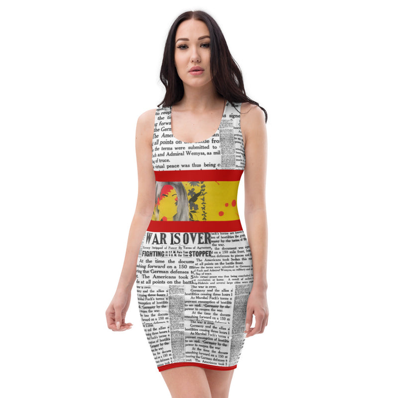 WAR IS OVER RED SUBLIMATION DRESS