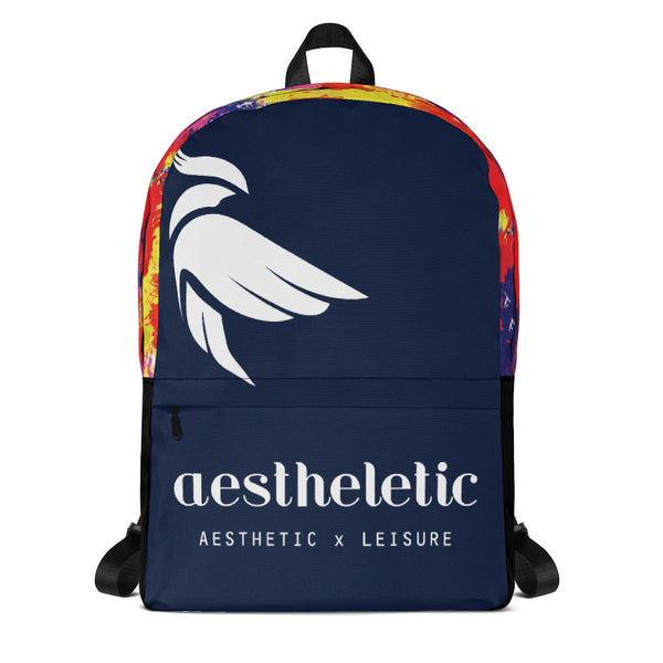 Aestheletic OFFICIAL - White on Navy Blue Unisex Backpack