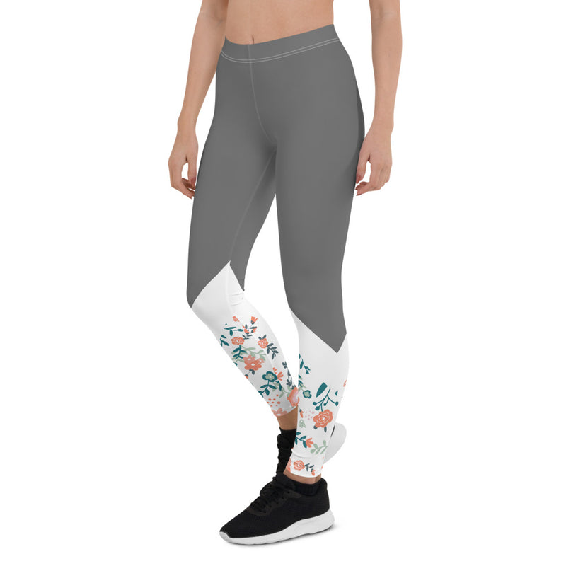 Floral Vines- Aestheletic Hot Grey Workout leggings