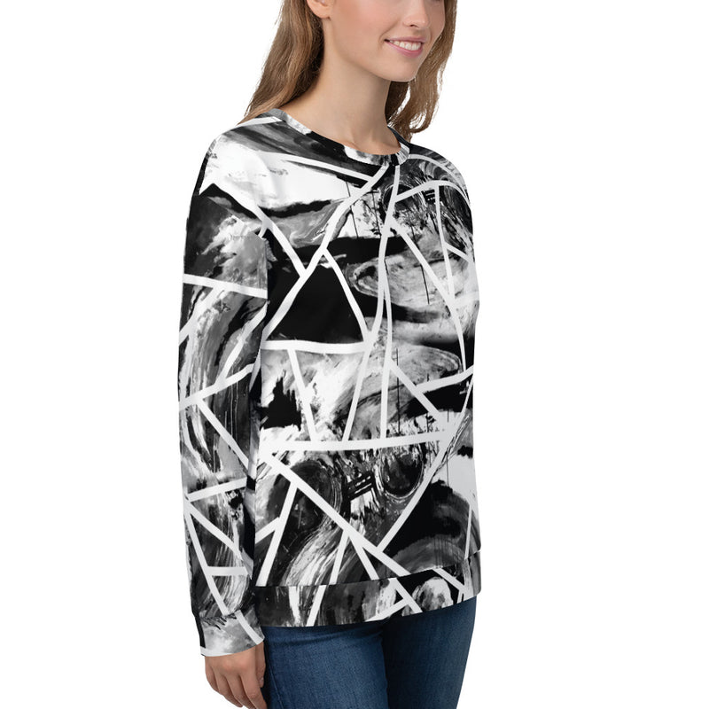 Circle of Conception, B&W All-Over Print Unisex Sweatshirt