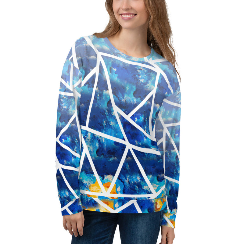 Oscillating Waves, Geometric,Unisex Sweatshirt
