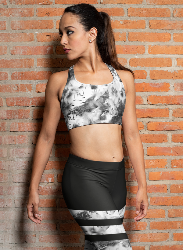 Grunge Aesthetic B&W Padded Sports Bra