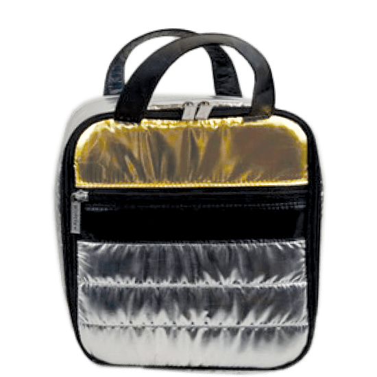 Silver and Gold Puffer Lunch Tote