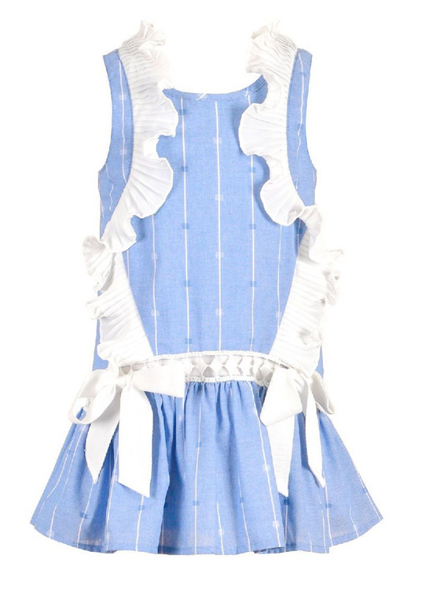 BLUE DRESS WITH WHITE STRIPES.