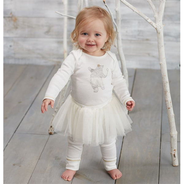 WHITE DANCING BEAR SKIRTED TWO-PIECE SET