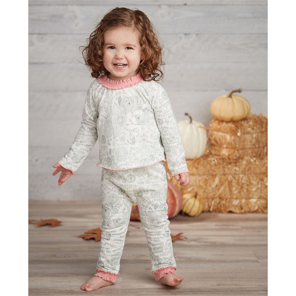 OWL PRINT TWO-PIECE GIRL'S SET
