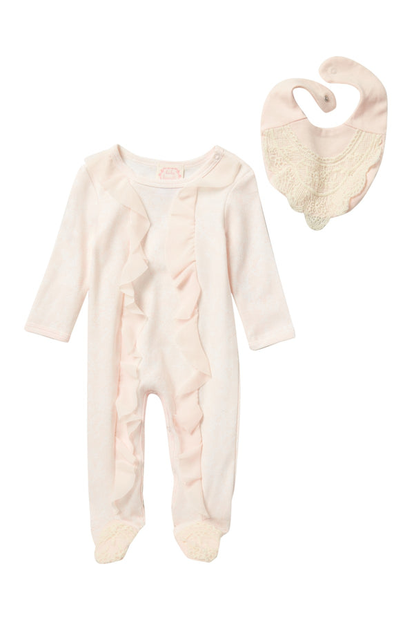 ONESIE AND BABERO PEACH SET